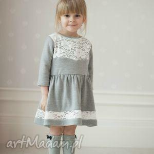 sukienka bella - dziecięca, dla dziewczynki, świąteczna, koronka, dzianina