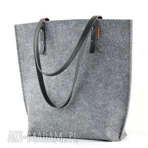 Duża filcowa torba ze skórzanymi rączkami- minimalistyczna- szary i czarny, filc