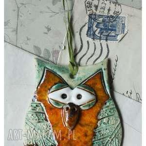 ręczne wykonanie ceramika sowa pomarańczowa