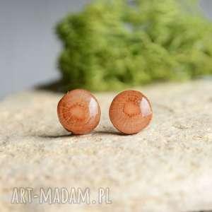 Kolczyki wkrętki z drewna i srebra, sztyfty, drewno, drewniane, las,