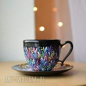 filiżanka czarna multikolor ręcznie malowana, filiżanka, ceramiczna