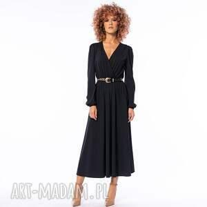 sukienki katarzyna black night - czarna sukienka, elegancka, luźna, kopertowa
