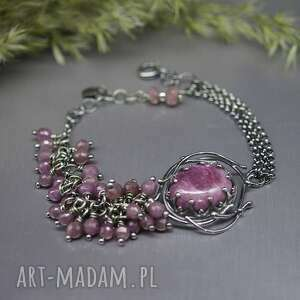 kaskada rubinów bransoletka caramella, rubin zoizyt, srebrna