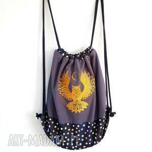 plecak worek moon owl - ,plecak,worek,złoto,haft,sowa,księżyc,