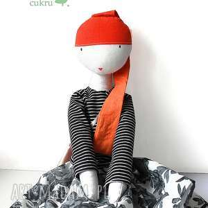 wyjątkowy prezent, lalki ruda lalka z sercem, lalka, szmacianka, włosy, bawełna, eko