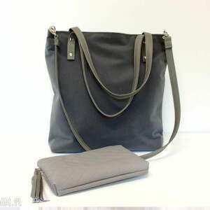 shopper bag, szara, klasyczna, modna, uniwersalna