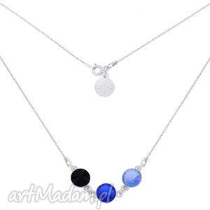 sotho srebrny naszyjnik z trzema kryształami swarovski®, szafirowy