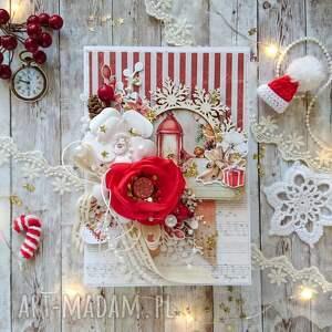 hand made świąteczne prezenty kartka świąteczna w czerwieni