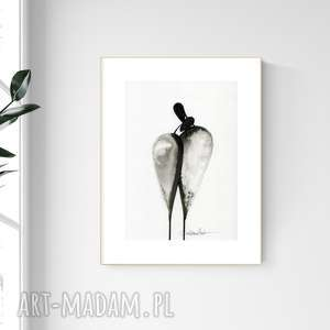 grafika a4 malowana ręcznie, minimalizm, abstrakcja czarno-biała, 2476587
