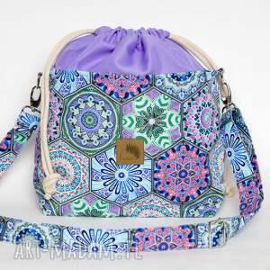 hand-made torebki torebka listonoszka kafelki - heksagony z kominem welur tapicerski