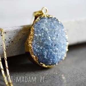 925 amore agat druzy kamień półszlachetny naszyjnik - kamień, niebieski, agat, xl, naszyjnik, zawieszka
