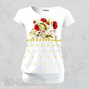 bluzka malowana ręcznie - polskie kwiaty, bluzka, koszulka, t shirt, bawełna