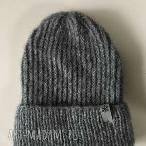 czapka wełniana na drutach zimowa alpaka handmade ręcznie robiona beanie, beanie