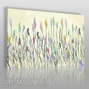 obrazy obraz na płótnie - łąka tęcza 120x80 cm 53101, łąka, tęcza, kwiaty, wiosna
