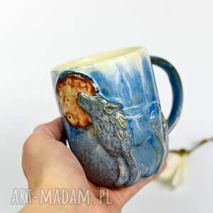 hand-made ceramika ceramiczny duży kubek z wilkiem - leśne opowieści - 400 ml