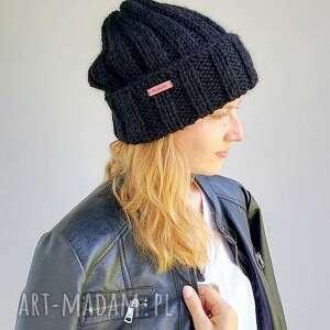 wełniana czapka, czarnaczapka, unisexczapka, na drutach