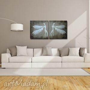 ANIOŁY SZCZĘŚCIA - A16 XXL 140x70cm obraz duży na płótnie , anioły, anioł,