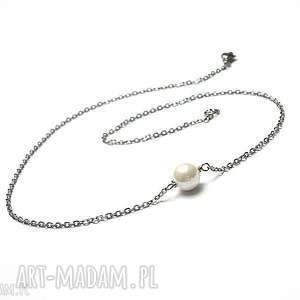 alloys collection - /one pearl/white/ -naszyjnik, stal, szlachetna, perła