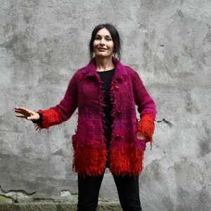 Czerwono amarantowy sweter wełniany swetry kozaczka dzianina