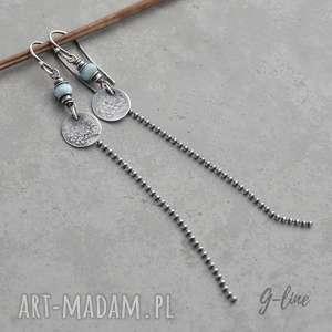 larimar długie srebrne kolczyki, surowe, larimar, srebro