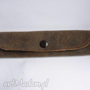 hand-made etui piórnik skórzany mały