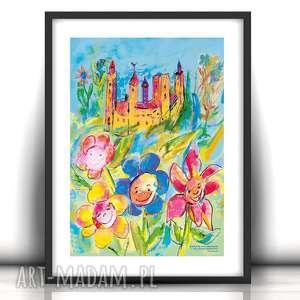bajkowy plakat, kolorowy obrazek do pokoju dziewczynki, zamek grafika, ładny plakat