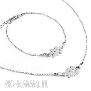 Srebrny komplet gałęzie oliwne, srebrny, komplet, biżuterii, gałązki, gałązka