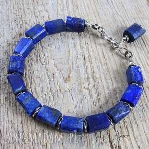 Bransoletka surowa z lapis lazuli, lapis, srebro, bransoletka