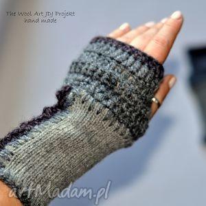 rękawiczki mitenki - rękawiczki, szare, mitenki, wełna