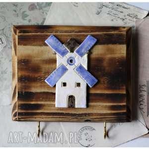 wieszaki wieszak z wiatrakiem holenderskim, wieszak, drewno, ceramika, wiatrak dom