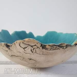 Prezent Sardynia artystyczna miska na owoce, miska-ceramiczna, turkusowa-miska