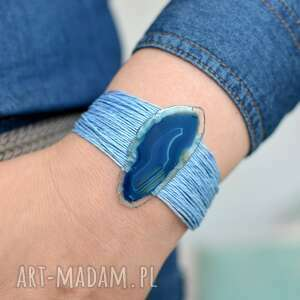 bransoletka z lnu agatem niebieska, damska, len, agat, kamienie