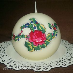 świeca z akcentem góralskim - kula, świeca, świecznik, góralski, folk