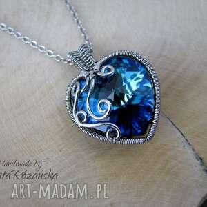 Wisiorek serce Swarovski Xilion Heart Bermuda Blue, wire wrapping, swarovski