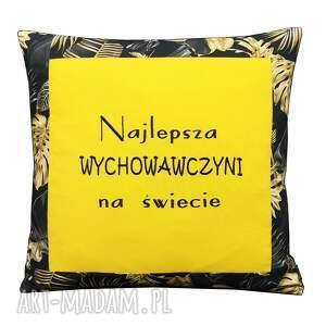 poduszki poduszka najlepsza wychowawczyni na świecie złote kwiaty, koniec roku