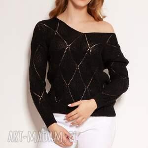 ażurowa bluzka - swe144 czarny, bluzka, ażurowy sweter, sweter na wiosnę