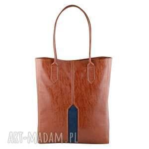 pillar - duża torba shopper kasztan i granat, shopper, duża, pojemna, wygodna
