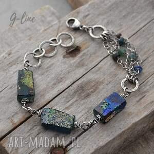 ręcznie robione szkło z afganistanu. Masywna srebrna bransoletka 084