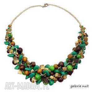 kolory ziemi - naszyjnik lniany - jaspis, szmaragdowy, ekologiczny, drewniany, naturalny