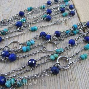 Długi naszyjnik z lapis lazuli i turkusu, lapis, lazuli, turkus, naszyjnik,