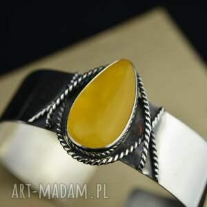 ręczne wykonanie sztywna bransoleta z bursztynem srebro