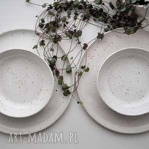 zestaw ceramiczny nakrapiany - talerz miseczka dla 2 osób, ceramika