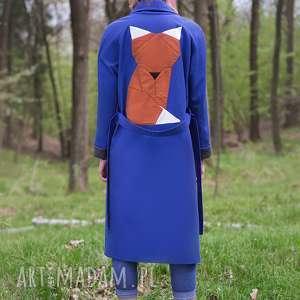 płaszcze niebieski lis, trench, wiązanie, wiosenny, origami