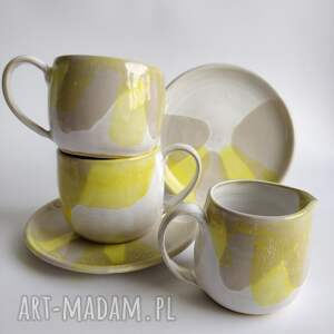 zestaw składający się z dwóch filiżanek i dzbanuszka 3, ceramika, filiżanka