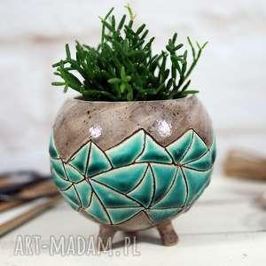 Prezent Ceramiczna doniczka - osłonka ręcznie robiona i malowana, doniczka-ceramiczna