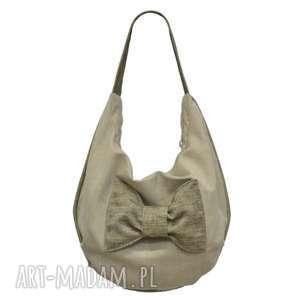 20-0001 Beżowa torebka worek z efektowną kokardą FINCH, markowe-torebki