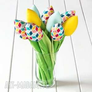 tulipany, bawełniany bukiet w geometryczne wzory, bukiet, kwiaty, wiosna