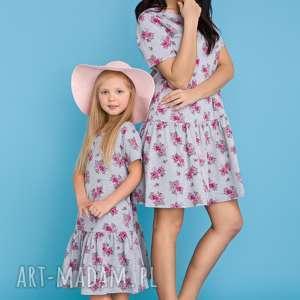 hand-made sukienki komplet dla mamy i córki - sukienka z falbanką, kwiaty