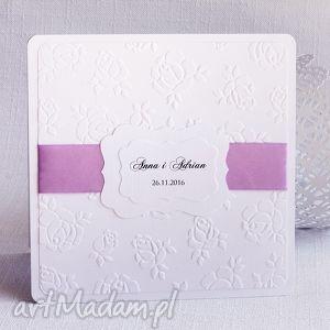 Tłoczone zaproszenie ślubne róże z ramką, ślub, zaproszenie, zaproszenieślubne