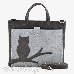 handmade na laptopa duża grafitowa torebka - laptopówka z sową